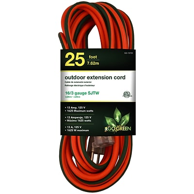 GoGreen Power 16/3 25 Heavy Duty Extension Cord - Lighted End, Orange - GG-13725