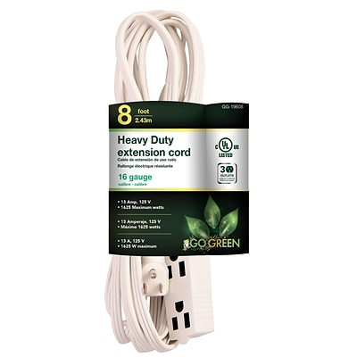 GoGreen Power 8 3-Outlet Extension Cord, White, GG-19608