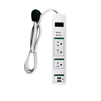 GoGreen Power 3 Outlet Surge Protector 2 USB Port, 3 cord, White - GG-13103USB