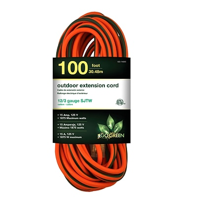 GoGreen Power 12/3 100 Heavy Duty Extension Cord, Lighted End - Orange, GG-14000