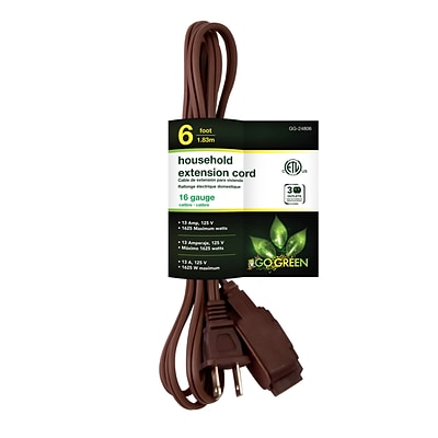 GoGreen Power 16/2 6 Household Extension Cord 10pk, Brown - GG-24806