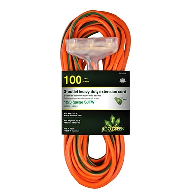GoGreen Power 12/3 100 3-Outlet Heavy Duty Extension Cord, Lighted End - Orange, GG-15200