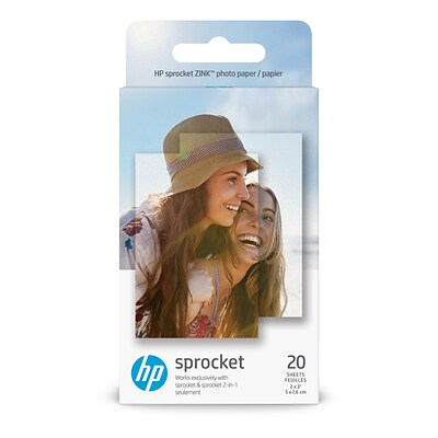 HP Zero Ink (ZINK) Print Photo Paper, 2 x 3, Glossy, 20/Pack, White (1AH01A)