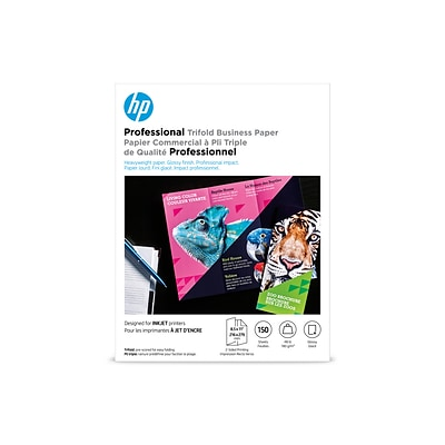 HP Professional Trifold Business Glossy Brochure Paper, 8.5 x 11 (US letter), 150 Sheets/Pack (4WN12A)