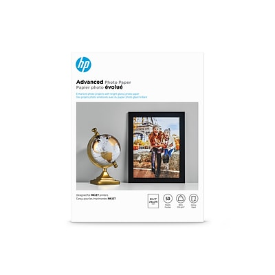 HP Advanced Photo Paper, 8 1/2 x 11, Glossy, 50/Pack