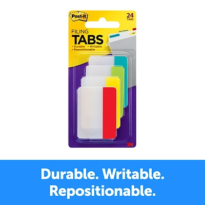 Post-it® Durable Tabs, 2 Wide, Solid, Assorted Primary Colors, 24 Tabs/Pack (686-ALYR)