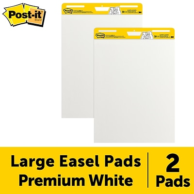 Post-it® Super Sticky Easel Pad, 25 x 30, White, 30 Sheets/Pad, 2 Pads/Pack (559)