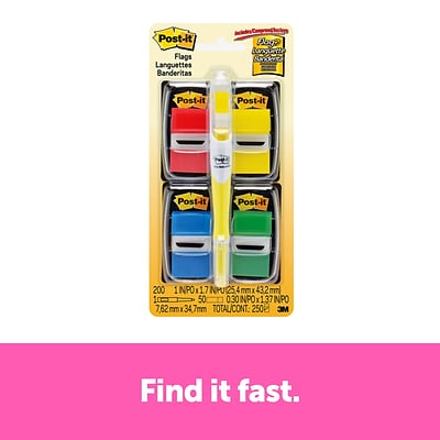 Post-it® Flags Value Pack, .94 Wide, Assorted Colors, 200 Flags/Pack plus Flag + Highlighter (680-RYBGVA)
