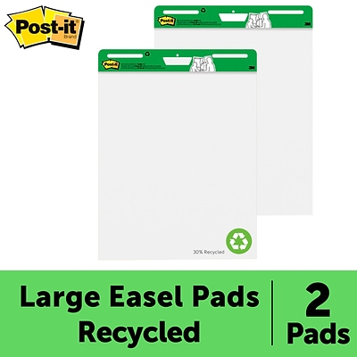 Post-it® Super Sticky Recycled Easel Pad, 25 x 30, White, 30 Sheets/Pad, 2 Pads/Pack (559-RP)