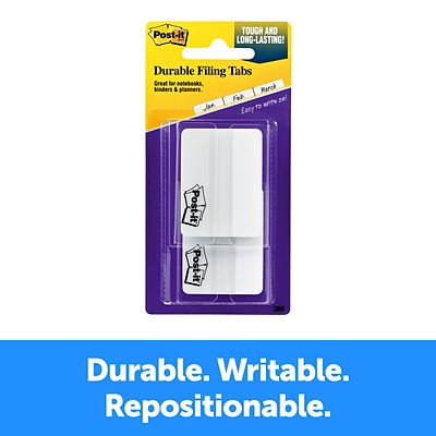 Post-it® Durable Tabs, 2 Wide., Solid, White, 50 Tabs/Pack (686F-50WH)