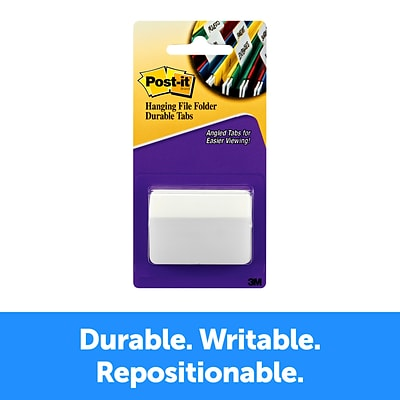 Post-it® Durable Tabs, 2 Wide, Angled, Solid, White, 50 Tabs/Pack (686A-50WH)