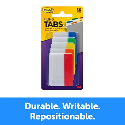 Post-it® Tabs, 2 Wide, Solid, Assorted Colors, 30 Tabs/Pack (686-ROYGB)