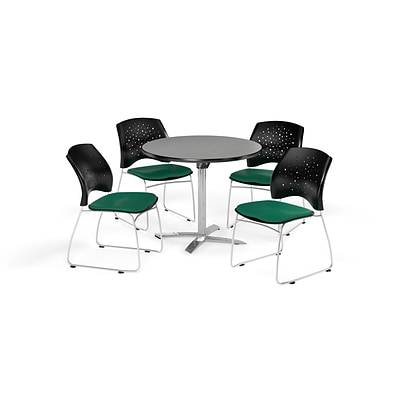 OFM 42 Round Flip Top Gray Nebula Table with Four Shamrock Green Chairs (PKG-BRK-166-0017)