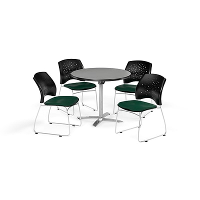 OFM 36 Round Flip Top Gray Nebula Table with Four Forest Green Chairs (PKG-BRK-165-0031)