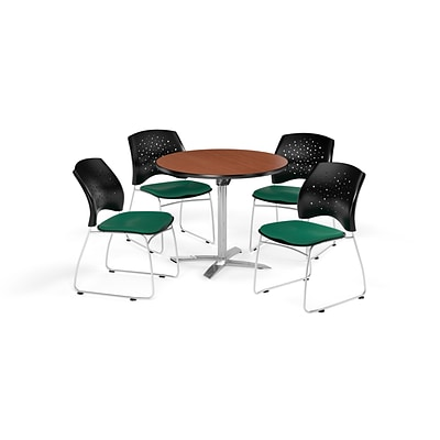 OFM 42 Round Flip Top Cherry Table with Four Shamrock Green Chairs (PKG-BRK-166-0001)