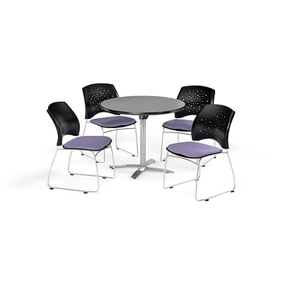 OFM 36 Round Flip Top Gray Nebula Table with Four Lavender Chairs (PKG-BRK-165-0018)