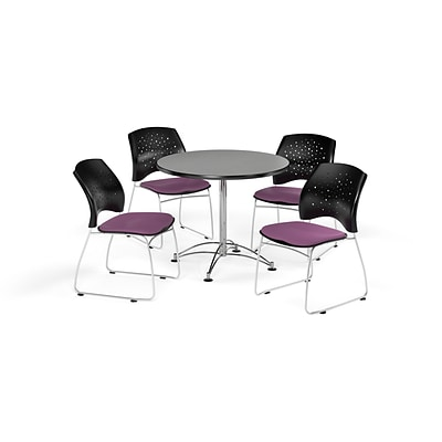 OFM 36 Round Multi-Purpose Gray Nebula Table with Four Plum Chairs (PKG-BRK-167-0029)