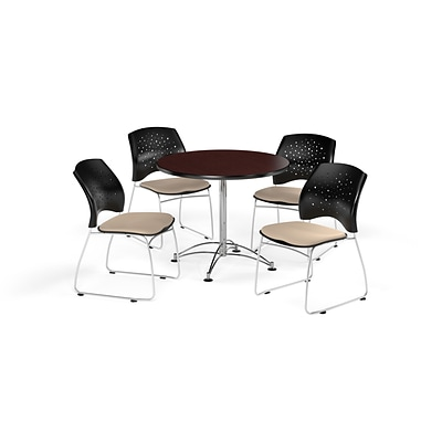 OFM 36 Round Multi-Purpose Mahogany Table with Four Khaki Chairs (PKG-BRK-167-0041)