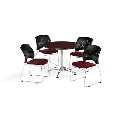 OFM 36 Round Multi-Purpose Mahogany Table with Four Burgundy Chairs (PKG-BRK-167-0043)
