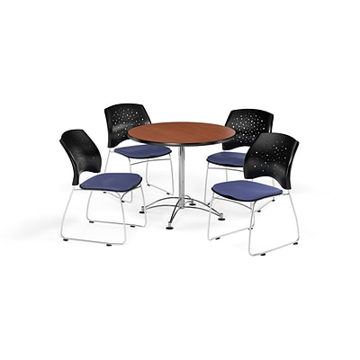 OFM 36 Round Multi-Purpose Cherry Table with Four Colonial Blue Chairs (PKG-BRK-167-0004)