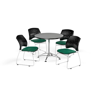 OFM 36 Round Multi-Purpose Gray Nebula Table with Four Shamrock Green Chairs (PKG-BRK-167-0017)