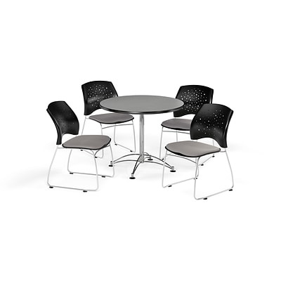 OFM 36 Round Multi-Purpose Gray Nebula Table with Four Putty Chairs (PKG-BRK-167-0030)