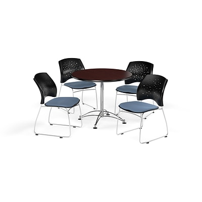OFM 36 Round Multi-Purpose Mahogany Table with Four Cornflower Blue Chairs (PKG-BRK-167-0038)