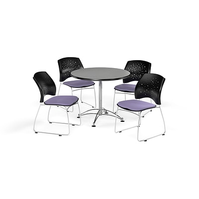 OFM 36 Round Multi-Purpose Gray Nebula Table with Four Lavender Chairs (PKG-BRK-167-0018)