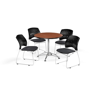 OFM 36 Round Multi-Purpose Cherry Table with Four Slate Gray Chairs (PKG-BRK-167-0012)