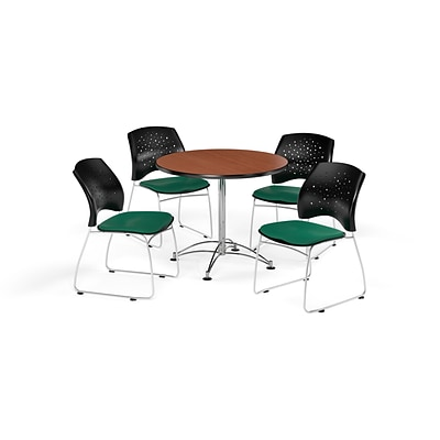 OFM 36 Round Multi-Purpose Cherry Table with Four Shamrock Green Chairs (PKG-BRK-167-0001)