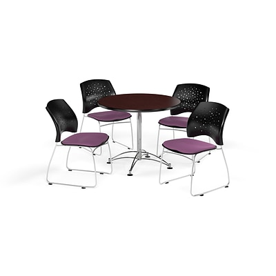 OFM 36 Round Multi-Purpose Mahogany Table with Four Plum Chairs (PKG-BRK-167-0045)