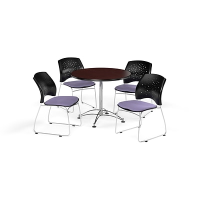 OFM 36 Round Multi-Purpose Mahogany Table with Four Lavender Chairs (PKG-BRK-167-0034)