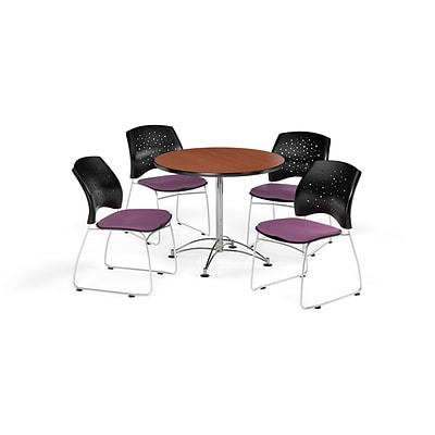 OFM 36 Round Multi-Purpose Cherry Table with Four Plum Chairs (PKG-BRK-167-0013)