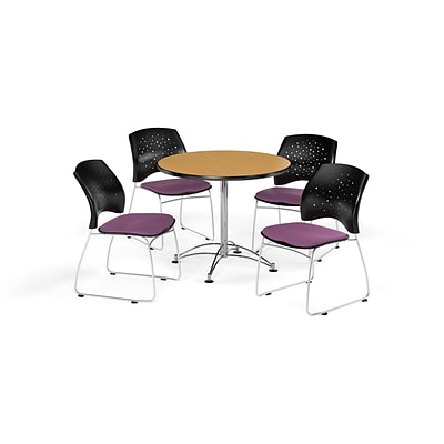 OFM 36 Round Multi-Purpose Oak Table with Four Plum Chairs (PKG-BRK-167-0061)