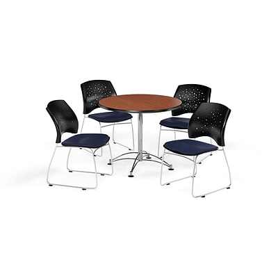 OFM 36 Round Multi-Purpose Cherry Table with Four Navy Chairs (PKG-BRK-167-0003)