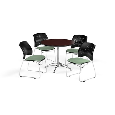 OFM 36 Round Multi-Purpose Mahogany Table with Four Sage Green Chairs (PKG-BRK-167-0039)