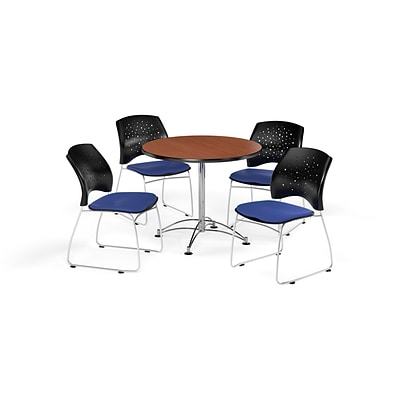 OFM 36 Round Multi-Purpose Cherry Table with Four Royal Blue Chairs (PKG-BRK-167-0010)