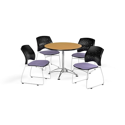 OFM 36 Round Multi-Purpose Oak Table with Four Lavender Chairs (PKG-BRK-167-0050)
