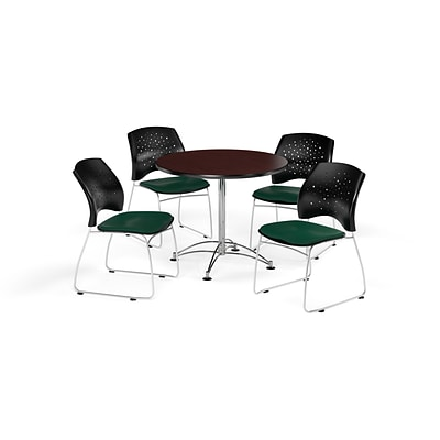 OFM 36 Round Multi-Purpose Mahogany Table with Four Forest Green Chairs (PKG-BRK-167-0047)