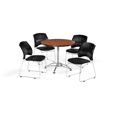 OFM 36 Round Multi-Purpose Cherry Table with Four Black Chairs (PKG-BRK-167-0016)