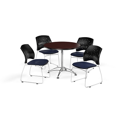 OFM 36 Round Multi-Purpose Mahogany Table with Four Navy Chairs (PKG-BRK-167-0035)