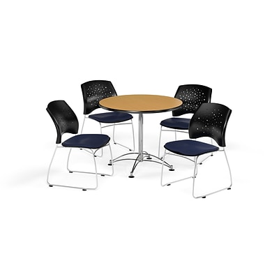 OFM 36 Round Multi-Purpose Oak Table with Four Navy Chairs (PKG-BRK-167-0051)