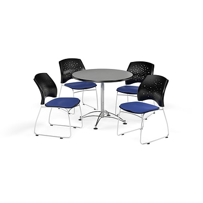 OFM 36 Round Multi-Purpose Gray Nebula Table with Four Royal Blue Chairs (PKG-BRK-167-0026)