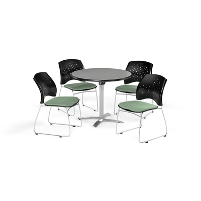OFM 42 Round Flip Top Gray Nebula Table with Four Sage Green Chairs (PKG-BRK-166-0023)