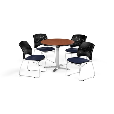 OFM 42 Round Flip Top Cherry Table with Four Navy Chairs (PKG-BRK-166-0003)