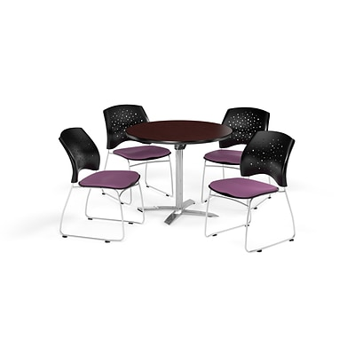 OFM 42 Round Flip Top Mahogany Table with Four Plum Chairs (PKG-BRK-166-0045)