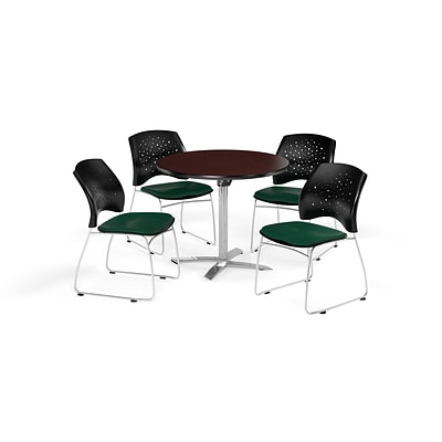 OFM 42 Round Flip Top Mahogany Table with Four Forest Green Chairs (PKG-BRK-166-0047)