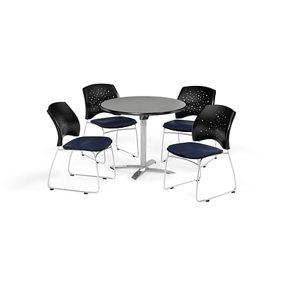 OFM 36 Round Flip Top Gray Nebula Table with Four Navy Chairs (PKG-BRK-165-0019)