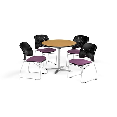OFM 42 Round Flip Top Oak Table with Four Plum Chairs (PKG-BRK-166-0061)