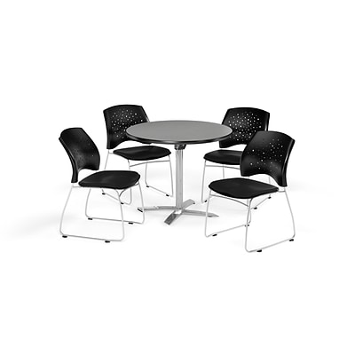 OFM 36 Round Flip Top Gray Nebula Table with Four Black Chairs (PKG-BRK-165-0032)
